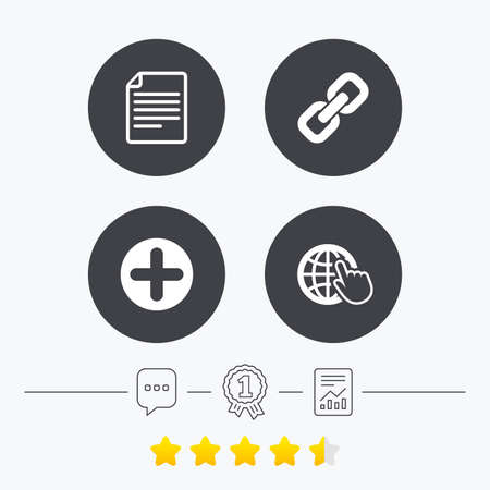 Plus add circle and hyperlink chain icons. Document file and globe with hand pointer sign symbols. Chat, award medal and report linear icons. Star vote ranking. Vector