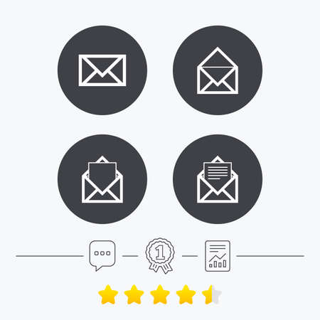 webmail: Mail envelope icons. Message document symbols. Post office letter signs. Chat, award medal and report linear icons. Star vote ranking. Vector