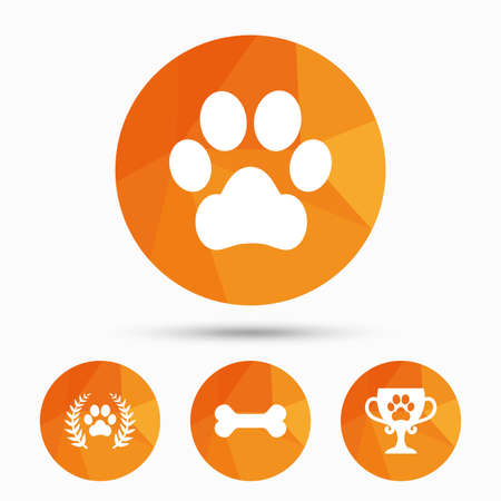 low prizes: Pets icons. Dog paw sign. Winner laurel wreath and cup symbol. Pets food. Triangular low poly buttons with shadow. Vector