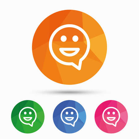 smile icon: Happy face chat speech bubble symbol. Smile icon. Triangular low poly button with flat icon. Vector Illustration