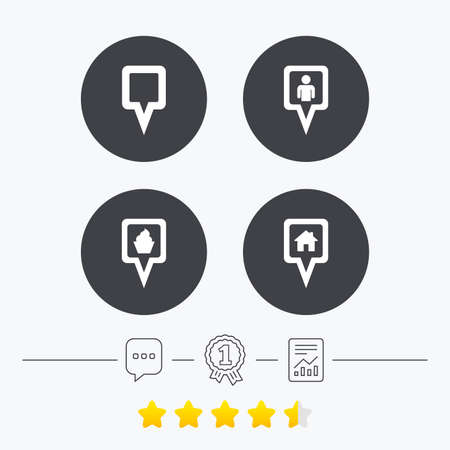 vote here: Map square pointer icons. Home, food and user location symbols. Restaurant and cupcake signs. You are here. Chat, award medal and report linear icons. Star vote ranking. Vector