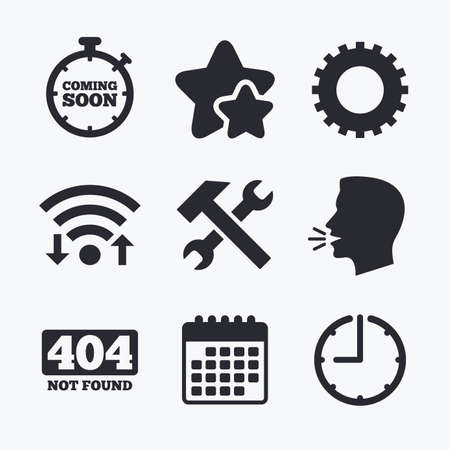 hammer head: Coming soon icon. Repair service tool and gear symbols. Hammer with wrench signs. 404 Not found. Wifi internet, favorite stars, calendar and clock. Talking head. Vector