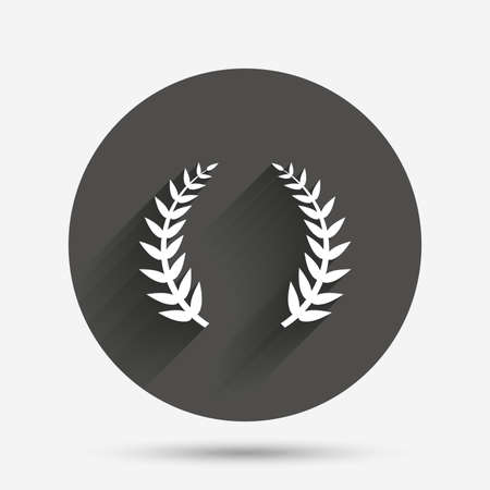 the triumph: Laurel Wreath sign icon. Triumph symbol. Circle flat button with shadow. Vector