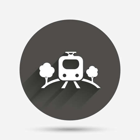 metro train: Overground subway sign icon. Metro train symbol. Circle flat button with shadow. Vector Illustration