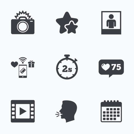 seconds: Photo camera icon. Flash light and video frame symbols. Stopwatch timer 2 seconds sign. Human portrait photo frame. Flat talking head, calendar icons. Stars, like counter icons. Vector Illustration