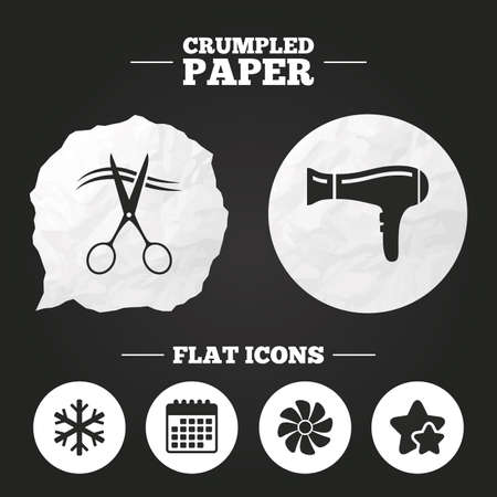 blow drying: Crumpled paper speech bubble. Hotel services icons. Air conditioning, Hairdryer and Ventilation in room signs. Climate control. Hairdresser or barbershop symbol. Paper button. Vector