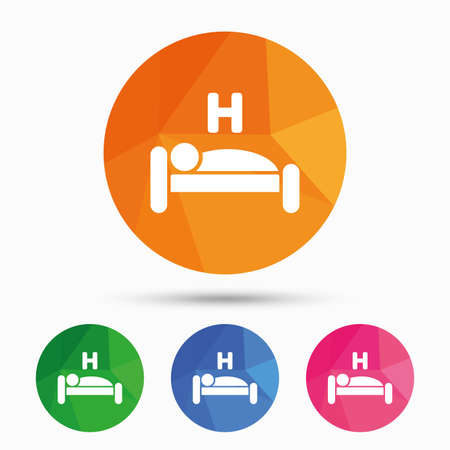 sleeper: Hotel apartment sign icon. Travel rest place. Sleeper symbol. Triangular low poly button with flat icon. Vector Illustration