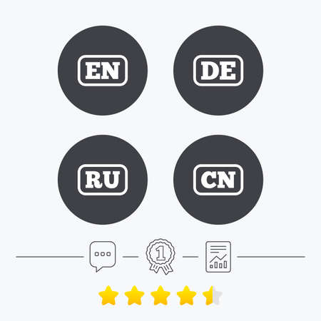 en: Language icons. EN, DE, RU and CN translation symbols. English, German, Russian and Chinese languages. Chat, award medal and report linear icons. Star vote ranking. Vector