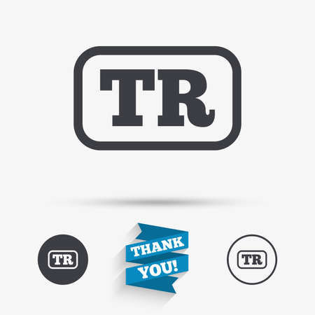 tr: Turkish language sign icon. TR Turkey translation symbol with frame. Flat icons. Buttons with icons. Thank you ribbon. Vector