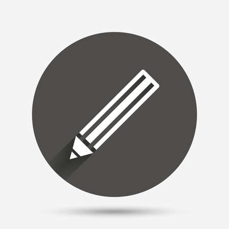 Pencil sign icon. Edit content button. Circle flat button with shadow. Vector Illustration