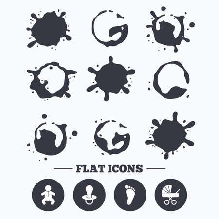 infants: Paint, coffee or milk splash blots. Baby infants icons. Toddler boy with diapers symbol. Buggy and dummy signs. Child pacifier and pram stroller. Child footprint step sign. Smudges splashes drops. Vector