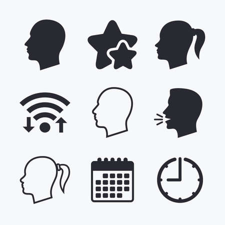pigtail: Head icons. Male and female human symbols. Woman with pigtail signs. Wifi internet, favorite stars, calendar and clock. Talking head. Vector