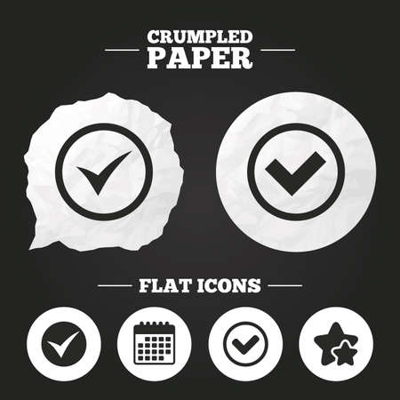 confirm: Crumpled paper speech bubble. Check icons. Checkbox confirm circle sign symbols. Paper button. Vector