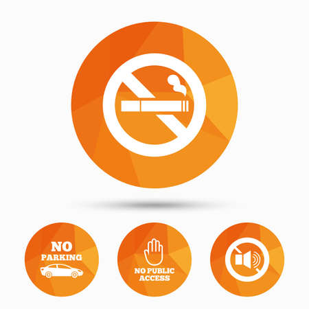 private public: Stop smoking and no sound signs. Private territory parking or public access. Cigarette and hand symbol. Triangular low poly buttons with shadow. Vector Illustration
