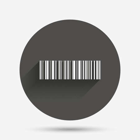 coded: Bar code sign icon. Scan code symbol. Coded word - success! Circle flat button with shadow. Vector