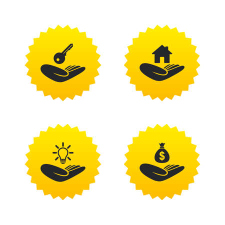 Helping hands icons. Financial money savings insurance symbol. Home house or real estate and lamp, key signs. Yellow stars labels with flat icons. Vector