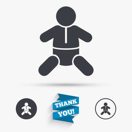diapers: Baby infant sign icon. Toddler boy with diapers symbol. Child WC toilet. Flat icons. Buttons with icons. Thank you ribbon. Vector