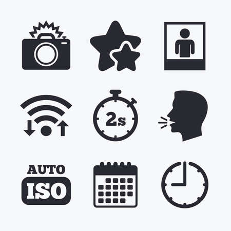 seconds: Photo camera icon. Flash light and Auto ISO symbols. Stopwatch timer 2 seconds sign. Human portrait photo frame. Wifi internet, favorite stars, calendar and clock. Talking head. Vector