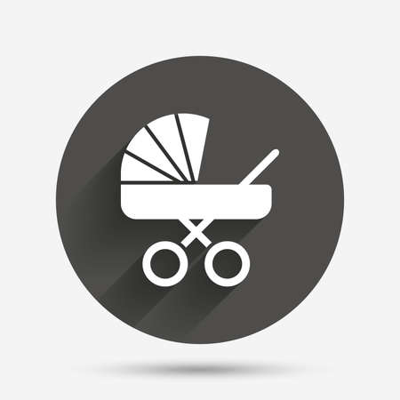buggy: Baby pram stroller sign icon. Baby buggy. Baby carriage symbol. Circle flat button with shadow. Vector Illustration