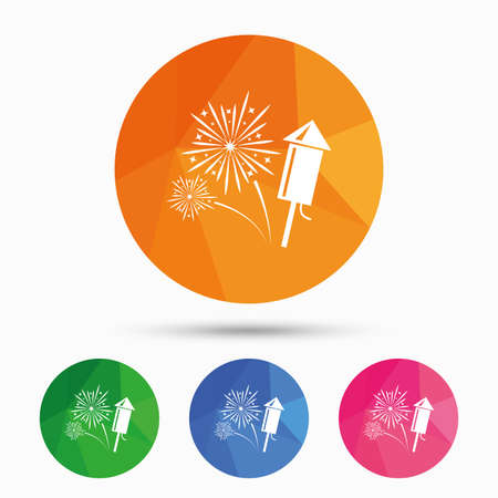 pyrotechnic: Fireworks with rocket sign icon. Explosive pyrotechnic symbol. Triangular low poly button with flat icon. Vector