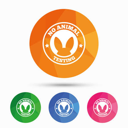 tested: No animals testing sign icon. Not tested symbol. Triangular low poly button with flat icon. Vector