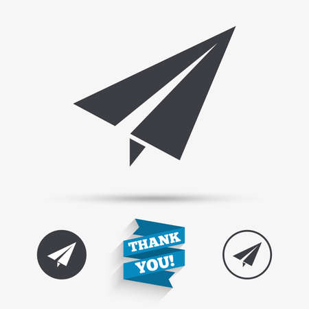 airplane: Paper Plane sign. Airplane symbol. Travel icon. Flight flat label. Flat icons. Buttons with icons. Thank you ribbon. Vector Illustration
