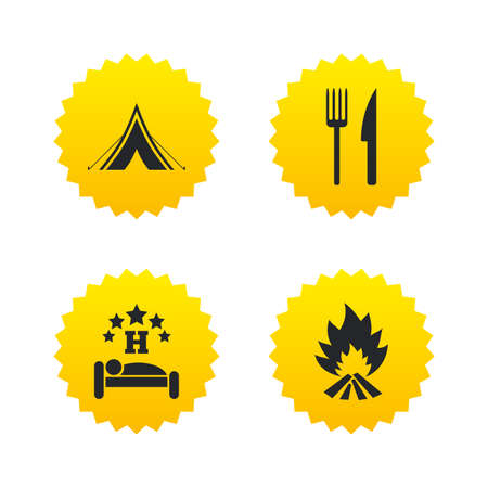 Food, sleep, camping tent and fire icons. Knife and fork. Hotel or bed and breakfast. Road signs. Yellow stars labels with flat icons. Vector Illustration