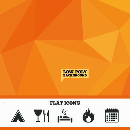breakfast in bed: Triangular low poly orange background. Food, sleep, camping tent and fire icons. Knife, fork and wineglass. Hotel or bed and breakfast. Road signs. Calendar flat icon. Vector