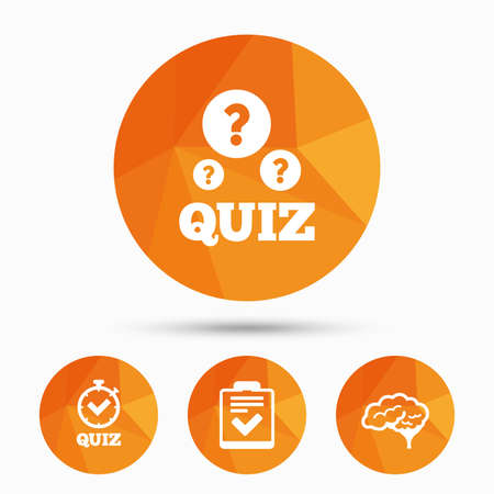 feedback form: Quiz icons. Human brain think. Checklist and stopwatch timer symbol. Survey poll or questionnaire feedback form sign. Triangular low poly buttons with shadow. Vector
