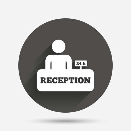 reception table: Reception sign icon. 24 hours Hotel registration table with administrator symbol. Circle flat button with shadow. Vector Illustration