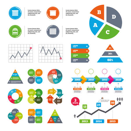 window blinds: Data pie chart and graphs. Louvers icons. Plisse, rolls, vertical and horizontal. Window blinds or jalousie symbols. Presentations diagrams. Vector