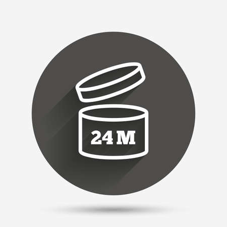 expiration date: After opening use 24 months sign icon. Expiration date. Circle flat button with shadow. Vector