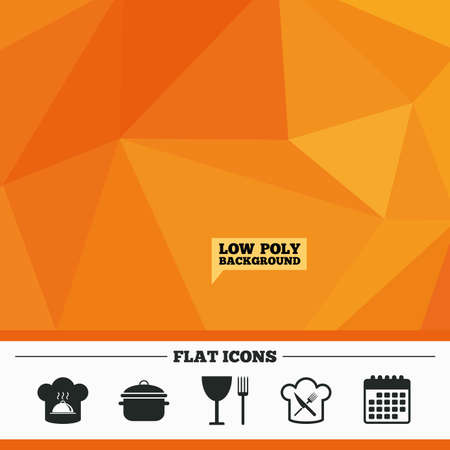 crosswise: Triangular low poly orange background. Chief hat and cooking pan icons. Crosswise fork and knife signs. Boil or stew food symbols. Calendar flat icon. Vector