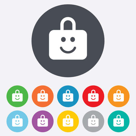 child protection: Child lock icon. Locker with smile symbol. Child protection. Round colourful 11 buttons. Vector