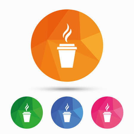 low glass: Coffee glass sign icon. Hot coffee button. Hot tea drink with steam. Takeaway. Triangular low poly button with flat icon. Vector