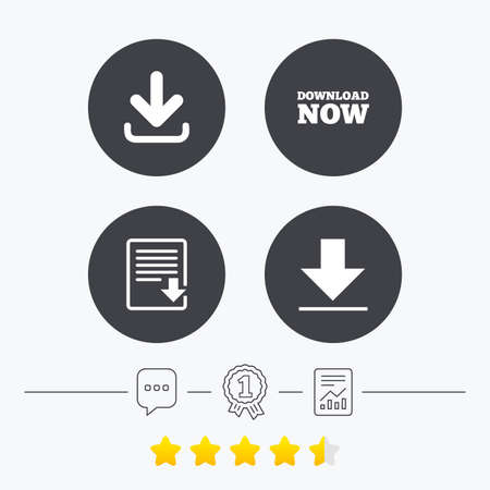 Download now icon. Upload file document symbol. Receive data from a remote storage signs. Chat, award medal and report linear icons. Star vote ranking. Vector