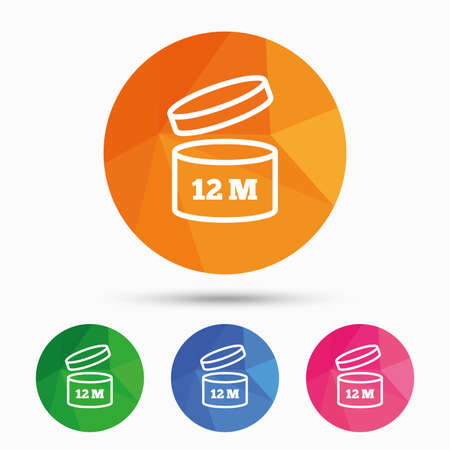 expiration: After opening use 12 months sign icon. Expiration date. Triangular low poly button with flat icon. Vector