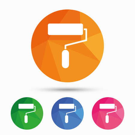 roller brush: Paint roller sign icon. Painting tool symbol. Triangular low poly button with flat icon. Vector Illustration