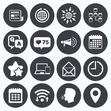 Calendar, wifi and clock symbols. Like counter, stars symbols. Communication icons. News, chat messages and calendar signs. E-mail, question and answer symbols. Talking head, go to web symbols. Vector Stok Fotoğraf - 60886789
