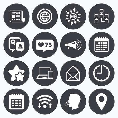 Kalender-, wifi- en kloksymbolen. Zoals een teller, sterren symbolen. Communicatie pictogrammen. Nieuws, chatberichten en kalenderborden. E-mail, vraag en beantwoord symbolen. Praat hoofd, ga naar websymbolen. Vector Stock Illustratie