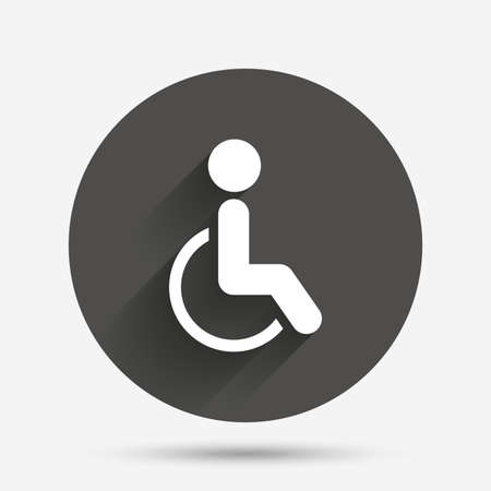 invalid: Disabled sign icon. Human on wheelchair symbol. Handicapped invalid sign. Circle flat button with shadow. Vector