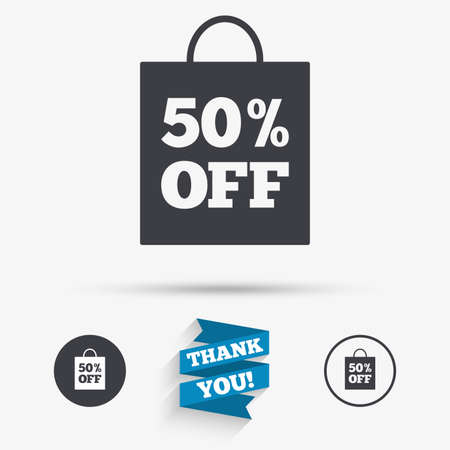 you are special: 50% sale bag tag sign icon. Discount symbol. Special offer label. Flat icons. Buttons with icons. Thank you ribbon. Vector