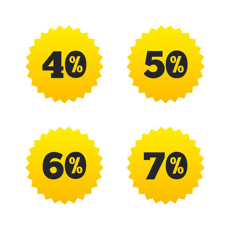 40 50: Sale discount icons. Special offer price signs. 40, 50, 60 and 70 percent off reduction symbols. Yellow stars labels with flat icons. Vector