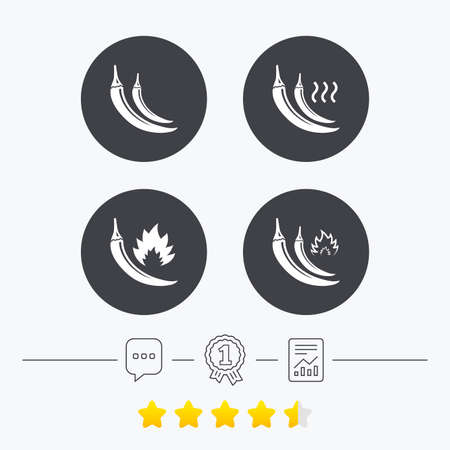 spicy: Hot chili pepper icons. Spicy food fire sign symbols. Chat, award medal and report linear icons. Star vote ranking. Vector