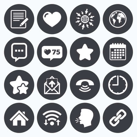 head phone: Calendar, wifi and clock symbols. Like counter, stars symbols. Mail, contact icons. Favorite, like and internet signs. E-mail, chat message and phone call symbols. Talking head, go to web symbols. Vector Illustration