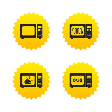 microwave stove: Microwave oven icons. Cook in electric stove symbols. Grill chicken with timer signs. Yellow stars labels with flat icons. Vector