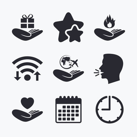 head protection: Helping hands icons. Health and travel trip insurance symbols. Gift present box sign. Fire protection. Wifi internet, favorite stars, calendar and clock. Talking head. Vector