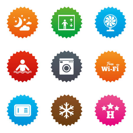 Hotel, apartment service icons. Washing machine. Wifi, air conditioning and swimming pool symbols. Stars label button with flat icons. Vector Illustration