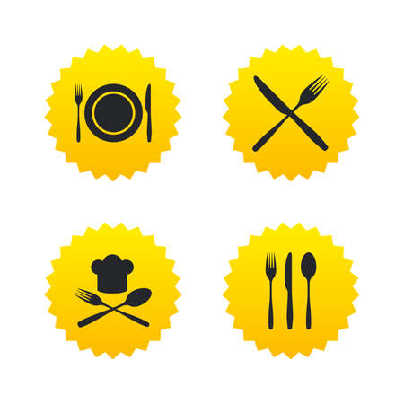 Plate dish with forks and knifes icons. Chief hat sign. Crosswise cutlery symbol. Dining etiquette. Yellow stars labels with flat icons. Vector