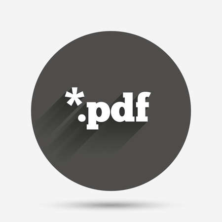 pdf: PDF file document icon. Download pdf button. PDF file extension symbol. Circle flat button with shadow. Vector